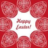 Ostern-Kartenvektorillustration, ein Muster gemalten Ostereies Stockfotos