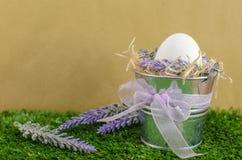 Ostern-Konzept - das Ei in einem dekorativen Eimer auf dem Gras mit Decker auf einem hellen Hintergrund lizenzfreie stockfotografie