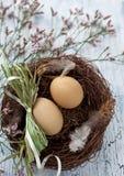 Ostern-Korb mit Eiern Lizenzfreie Stockfotos