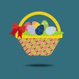Ostern-Korb mit Eiern Stockbild