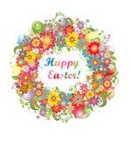 Ostern-Kranz mit bunten Blumen und gesättigten Eiern