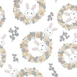 Ostern-Kranz mit Ostereiern ?bergeben gezogenes nahtloses Muster auf wei?em Hintergrund vektor abbildung