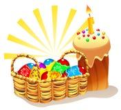 Ostern-Kuchen und Korb mit gemalten Eiern Lizenzfreie Stockbilder
