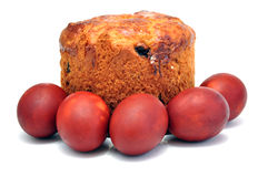 Ostern-Kuchen und Ostereier Stockfoto