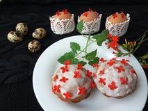 Ostern-Kuchen verzierte kalanchoe Blumen und kochte für eine Pflanzenkost Lizenzfreies Stockfoto