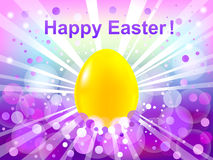 Ostern lila bokeh Hintergrund. Fröhliche Ostern Stockbild