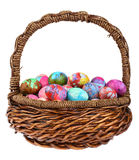 Ostern-Marmor-Eier im Korb Lizenzfreies Stockfoto