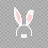 Ostern-Maske mit den Hasenohren lokalisiert auf transparentem kariertem, Illustration Karikatur-nettes Stirnband mit den Ohren Stockbilder