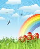 Ostern mit Eiern, Vögeln und Regenbogen/Vektor Stockbilder