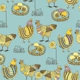 Ostern-nahtloses Muster mit Huhn und Brandhahn Stockfotografie