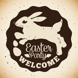 Ostern-Partei-Stempel mit Häschen und Paschal Eggs Silhouette, Vektor-Illustration Stockfoto