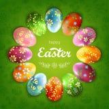 Ostern-Quadrathintergrund mit dekorativen Eiern Lizenzfreie Stockfotos