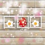 Ostern 3 Rahmen Cherry Flowers Wood Stockbild