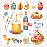 Ostern-Sammlung eingestellt mit traditionellen Ostern-Gegenständen vektor abbildung
