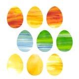 Ostern-Satz Aquarell farbige Eier Lizenzfreie Stockfotos