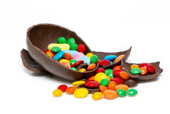 Ostern-Schokoladenei und -bonbons Lizenzfreies Stockbild