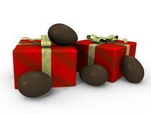 Ostern-Schokoladeneier mit Geschenken - Bild 3d Stockfotografie