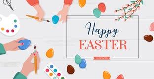 Ostern-Szene - glückliche Familie bereiten sich für Ostern vor Mutter, Vater und Töchter malen Eier Vektor vektor abbildung