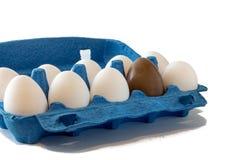 Ostern-Szene mit farbigen Eiern, Osterhase, weißer Hintergrund lizenzfreie stockfotografie