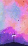 Ostern-Szene mit Kreuz Jesus Christ Watercolor-Vektor illustr Lizenzfreies Stockfoto