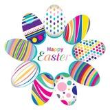 Ostern-Tag für Ei auf Vektordesign Buntes grafisches Muster für die Eier lokalisiert auf weißem Hintergrund Lizenzfreie Stockbilder