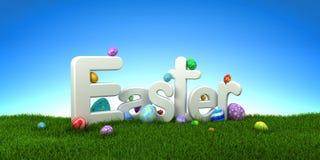 Ostern-Text mit bunten Eiern auf grünem Gras mit blauem Himmel Stockfoto