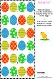 Ostern-themenorientiertes Sichtpuzzlespiel mit Reihen von Eiern Lizenzfreie Stockbilder