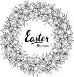 Ostern-Vektorgruß-Kartenentwurf mit Blumenkranz vektor abbildung