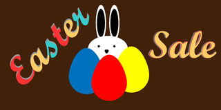 Ostern-Verkauf mit Eiern und Kaninchen, Feiertagsverkauf, flaches Design Lizenzfreies Stockbild