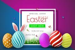 Ostern-Verkaufs-Illustration mit Farbe gemaltem Ei und Typografie-Element auf abstraktem Hintergrund Vektor-Feiertags-Design-Scha Lizenzfreie Stockfotografie