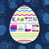 Ostern-Verkaufsfahnen-Designschablone Geometrische Beschriftung in der Eiform und in Ostereiern vektor abbildung