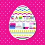Ostern-Verkaufsfahnen-Designschablone Geometrische Beschriftung und buntes Osterei auf rosa Hintergrund stock abbildung