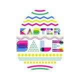 Ostern-Verkaufsfahnen-Designschablone Geometrische Beschriftung und buntes Osterei auf weißem Hintergrund vektor abbildung