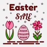 Ostern-Verkaufsthema Flache Ikonen eines gemalten Eies und zwei Blumen Kann als Grußkarte, Einladung, Fahne verwendet werden Stockbild