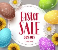 Ostern-Verkaufsvektorfahnen-Schablonendesign mit bunten Eiern, Frühlingsblumen und Verkauf simsen Lizenzfreies Stockbild