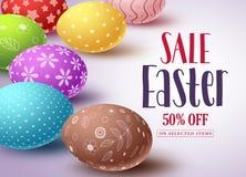 Ostern-Verkaufsvektorfahnendesign und -schablone mit bunten Eiern Stockfoto