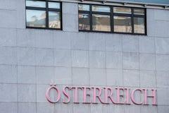 Osterreich logo in front of atheir main office in Vienna.
