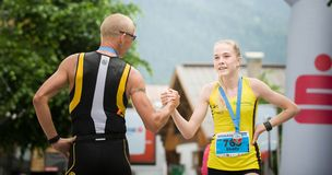 Runners Shaking Their Hand in the Finish Royalty Free Stock Photos