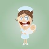 Ostetrica divertente del fumetto con il bambino royalty illustrazione gratis