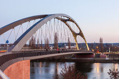 Osthafen bridge in Frankfurt Main, Germany Royalty Free Stock Photography