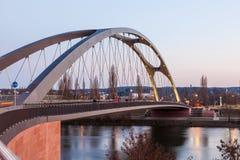 Osthafen bridge in Frankfurt Main, Germany Royalty Free Stock Photography