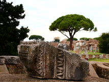 Ostia Antica废墟 免版税库存照片