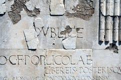 Ostia Antica,被雕刻的类型 免版税库存照片