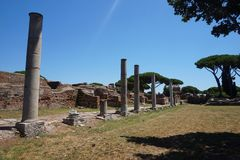 Ostia Antica ancient city forum. Rome - Italy stock photography
