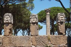 Ostia Antica ancient stone statue heads. Rome - Italy stock image