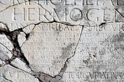 Ostia Antica, carved Roman type Stock Photos
