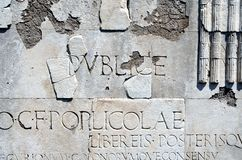 Ostia Antica, gesneden type Royalty-vrije Stock Foto