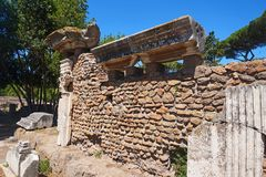 Ostia Antica - ancient building wall. Rome, Italy royalty free stock photos