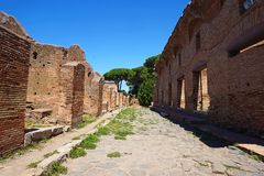 Ostia Antica - ancient residential building. Rome, Italy stock photo