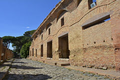 Ostia Antica Ruins. The ruins insulae apartment buildings in Ostia Antica near Rome, Italy. It was Rome`s ancient port before the river silted, it fell into Stock Photo